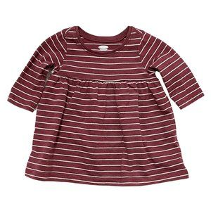 Burgundy & White Striped Long Sleeve Cotton Dress